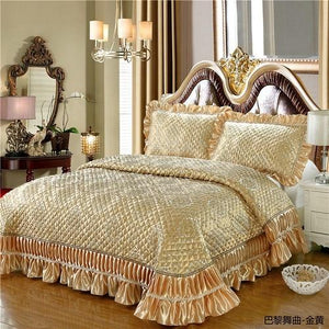 3Pcs Satin Cotton Jacquard Ruffles Bed Spread  & Pillowcases