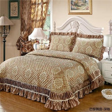 Load image into Gallery viewer, 3Pcs Satin Cotton Jacquard Ruffles Bed Spread  & Pillowcases