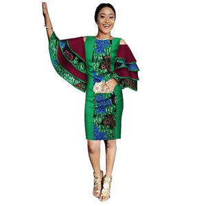 African Dashiki Print Dress with Ruffle Sleeves M - 6XL