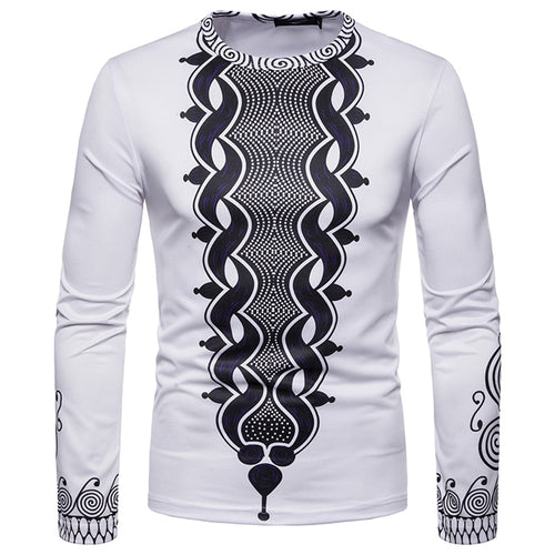 Men's Dashiki Aftrican Print Long Sleeve Shirt S - XXL Available