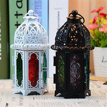 Load image into Gallery viewer, Classic Moroccan Decor Windproof Candle Holders Votive Iron Glass Hanging Candlestick Candle Lantern Party Home Wedding Decor