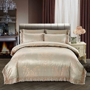 4Pcs  Silk Cotton Satin Luxury Bedding Set