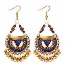 Load image into Gallery viewer, TRACYKWOK Bohemia Exaggeration Dangle Earrings For Women Silk Thread Tassel Metal Long Chandelier Earrings Fo-131290