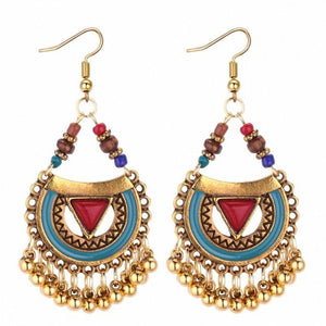 TRACYKWOK Bohemia Exaggeration Dangle Earrings For Women Silk Thread Tassel Metal Long Chandelier Earrings Fo-131290