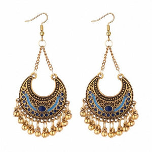 TRACYKWOK Bohemia Exaggeration Dangle Earrings For Women Silk Thread Tassel Metal Long Chandelier Earrings Fo-131302