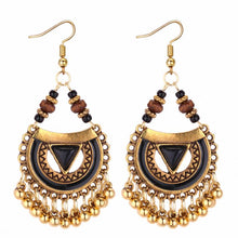 Load image into Gallery viewer, TRACYKWOK Bohemia Exaggeration Dangle Earrings For Women Silk Thread Tassel Metal Long Chandelier Earrings Fo-131287