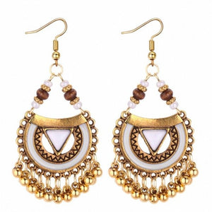 TRACYKWOK Bohemia Exaggeration Dangle Earrings For Women Silk Thread Tassel Metal Long Chandelier Earrings Fo-131287