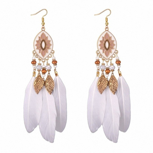TONGKWOK Bohemia Exaggeration Dangle Earrings For Women Silk Thread Tassel Metal Long Chandelier Earrings #Fo-133881