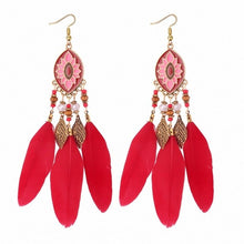 Load image into Gallery viewer, TONGKWOK Bohemia Exaggeration Dangle Earrings For Women Silk Thread Tassel Metal Long Chandelier Earrings #Fo-133881