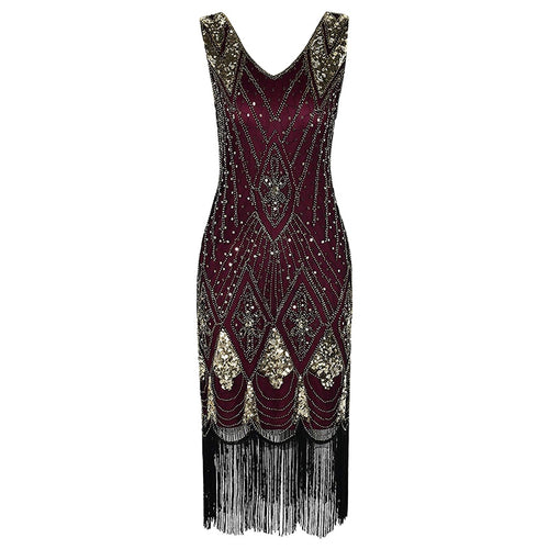 1920s Gatsby Flapper Dress with Fringe