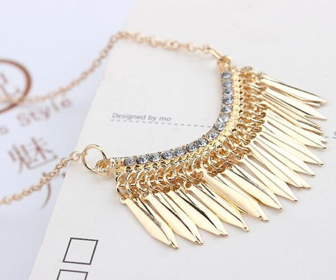 Womens Gold Statement Bib 2016 Necklace Pendant New Crystal Rhinestone Hot Fashion Long Chain