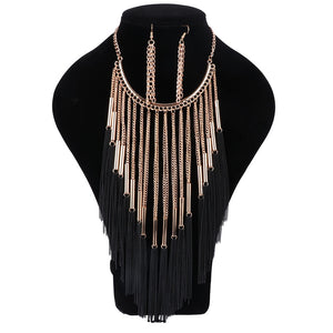 Women Gold Chain Tassels Necklaces&Pendants Earring Long Necklace New Fashion Punk Style Elegant Statement Jewelry Sets