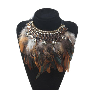 Statement Feather Necklace 3 Colors Available