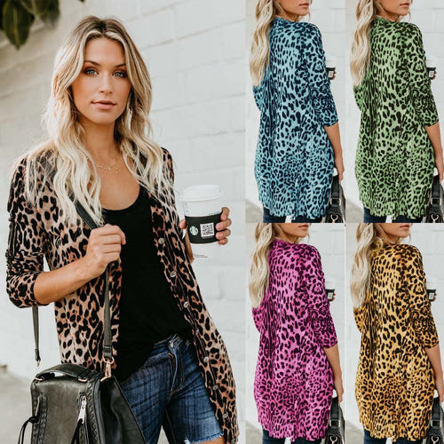 Long Sleeve Loose Leopard Printed Jacket S - XL