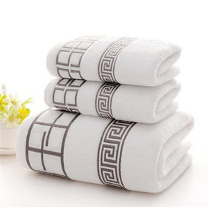 3PCS/Set Luxury 100% Cotton Soft Absorbent Towels 2 Bath Towel+ 1 Face Towel Sets 3 Colors Available