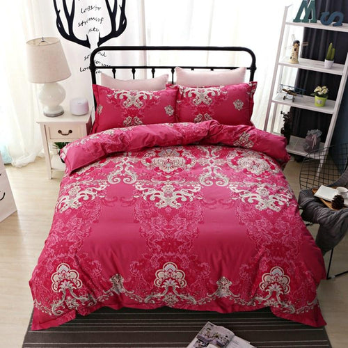 100% Luxury Red 4 Piece Bedset