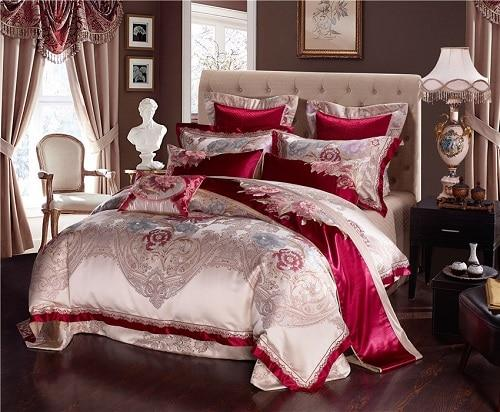 4Pcs Luxury Cotton Satin Royal Bedding set Queen King size Duvet cover Bed/Flat sheet Bed spread set