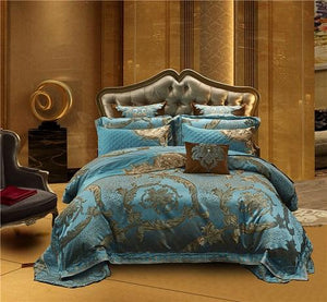 4 Piece Luxury Cotton Satin Blue Bedding set with Duvet cover Bed/Flat sheet spread set Pillowcases