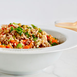 Cauliflower Fried Rice with Spicy Peanut Sauce