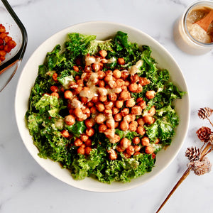 Garlicky Kale Salad with Crispy Chickpeas