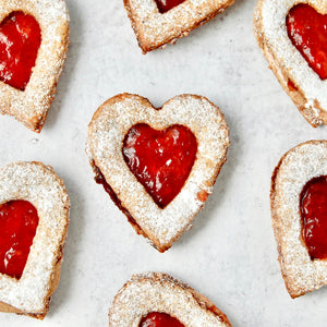 Gluten-Free Cookie Hearts with Nut Butter and Jelly
