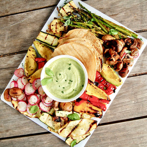 Grilled Vegetable Fajita Platter with Green Goddess Sauce