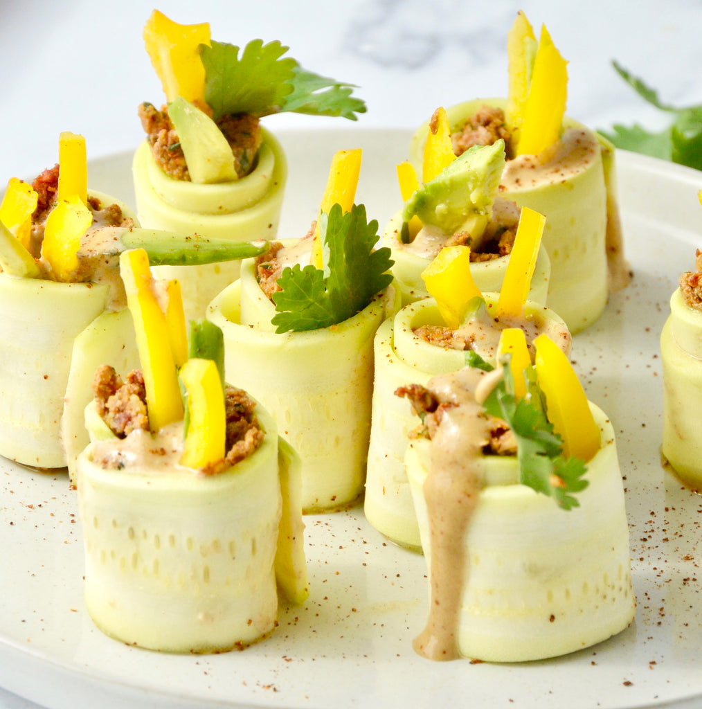 Raw Zucchini Roll Ups With Chili Cashew Sauce