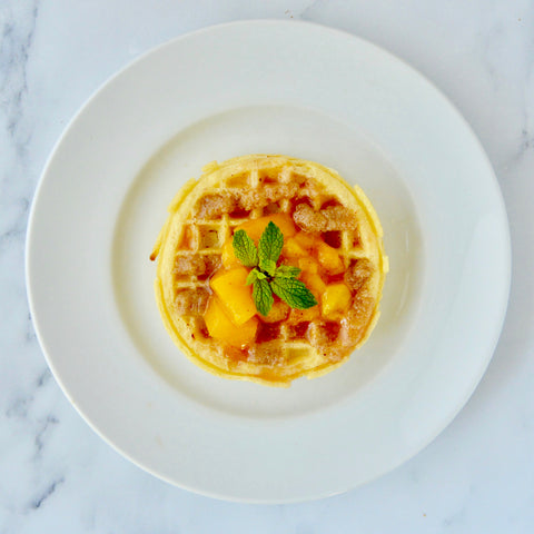 Waffles with Nut Butter & Peach Sauce
