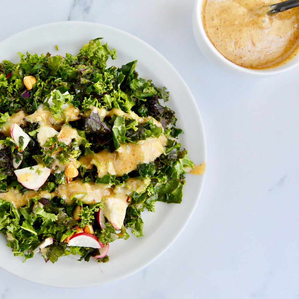 Kale Salad with Almond Butter Dressing