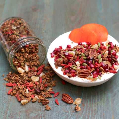 Buckwheat Gingerbread Granola with Goji Berries & Crystalized Ginger