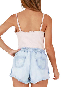 Drawstring Distressed Ripped Denim Shorts Light Blue S