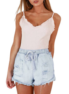 Drawstring Distressed Ripped Denim Shorts White S