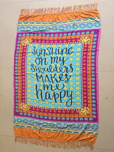 Special Letter Print Rectangle Shawl Beach Mat Yoga Mat LIGHT BLUE