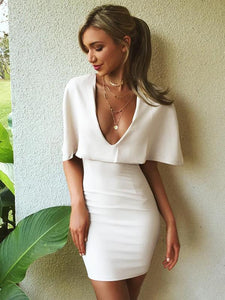 Sexy White V Neck Cape Sleeve Bodycon Mini Dress WHITE M