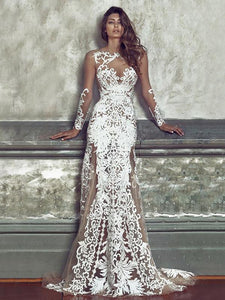 Sexy Lace Embroidered Hollow Round-neck Floor Maxi Dress WHITE XL