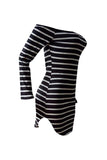Roaso Euramerican Dew Shoulder Striped Milk Fiber Sheath Mini Dress XL Multi