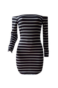 Roaso Euramerican Dew Shoulder Striped Milk Fiber Sheath Mini Dress L Multi