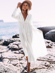 Lace V-neck Hollow Maxi Cover-Up Dress WHITE FREE SIZE