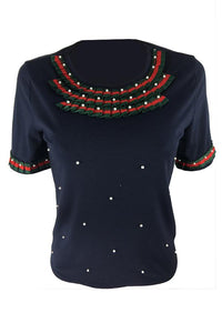 Roaso Casual Short Sleeves Pearl Decoration T-shirt XL Black