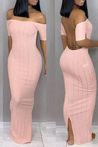 Roaso Trendy Backless Ankle Length Dress S Pink
