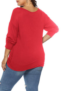 Roaso Casual Ruffle Design T-shirt XXL Red