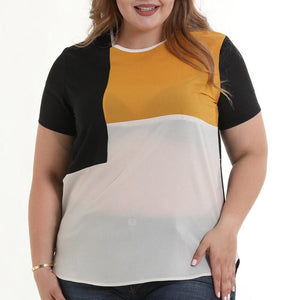 Roaso Casual Patchwork T-shirt L Yellow