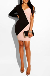 Roaso Chic Patchwork Mini Dress L Black and White