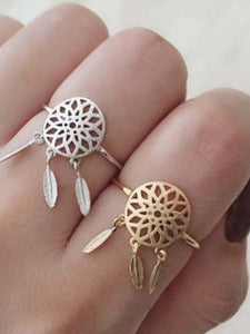 Vintage Hollow Feather Rings Accessories SLIVER