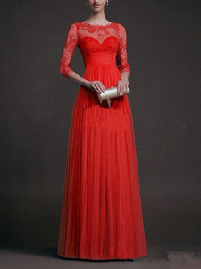 Beautiful Lace 3\/4 Sleeve Maxi Dress Evening Dress RED S