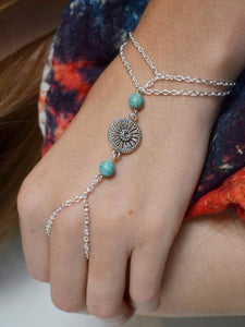 Bohemia Turquoise Flower Disk With Ring Bracelet Accessories FREE SIZE
