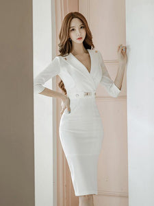 Sexy White Lapel Neck Long Sleeve Belted Slim Fit Tea Length Dress XL