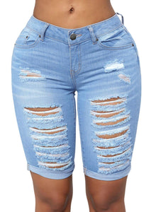 Distressed Ripped Roll-up Cuffs Denim Shorts Light Blue S
