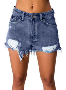 Distressed Ripped Washed Denim Shorts Blue S