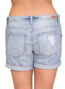 Rolled Cuffs Distressed Denim Shorts Blue XL